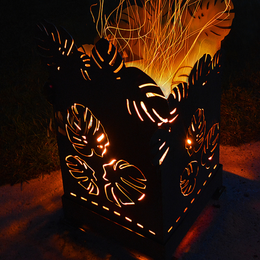 Feuerkorb Monstera/Edelrost